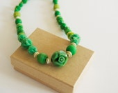 Vintage Green Lucite Necklace with Carved Beads