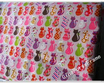1yard--Linen Cotton Blended Fabric - colorful cat