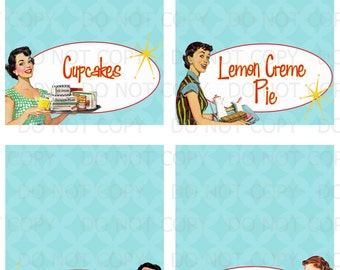 Printable Retro Housewife Bridal Shower Table Tent Food Labels- 4 designs customized