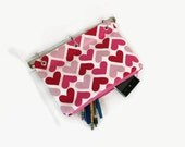 Binder Pencil Case Pink, Red, and White Heart Organizing Pencil Pouch for 3 Ring Binder  Ready to Ship School Supplies Kids Gift