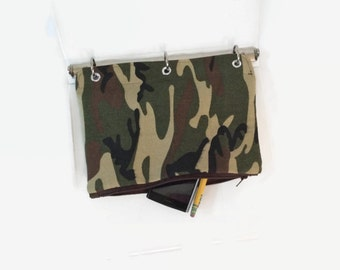 Binder Pencil Case Green Camouflage Pouch for 3 Ring Binder with Zipper School Supplies Back to School Kids Gift Organizing Case