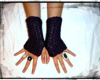 Fingerless Gloves Dark Plum Crocheted Indie Bohemian . Deep Purple Arm Warmers Boho Texting Gloves Medium Length Burlesque Fall & winter