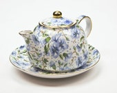 China Teapot and Saucer Tea for One Blue Chintz Vintage Ainsley Pattern