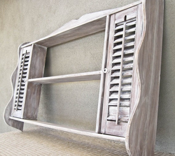 Decorative Wall Shelves With Doors : Display wall shelf decor with louvered doors large