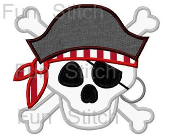 Pirate skull applique machine embroidery design