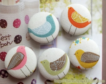 Fabric Covered Buttons (L) - Beautiful Lovely Spring Color Stripe Feather Birds Collection (5Pcs, 0.98 Inch)