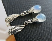 Angel wing post earrings, rainbow moonstone earrings, Angel wing earrings, dainty small earrings