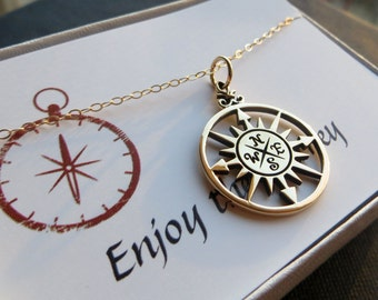 Compass rose necklace, antique gold, globetrotters, bronze pendant, compass charm necklace, graduation gift
