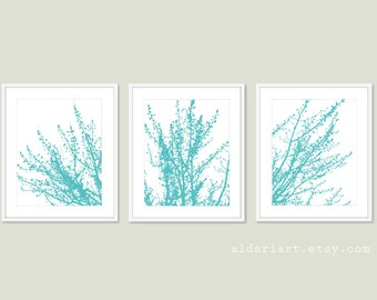 Modern Spring Tree Branches Art Prints - Set of 3 - Modern Nature Wall Art - Aqua Blue and White - Contemporary Tree Trio Triptych Wall Art