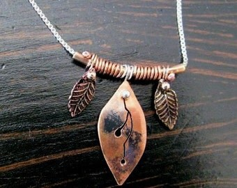Dainty woodland copper leaf necklace