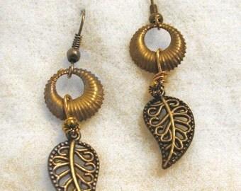 Gold-toned dangling leaf earrings