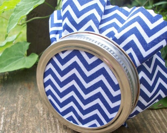 12 Navy Blue Chevron Jam Jam Covers, Cloth Toppers for mason jars, fabric for canning jars, food preservation, wedding favor jars