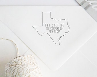Return Address Wood Handle Rubber Stamp State Shaped Address Stamp (all 49 states available)
