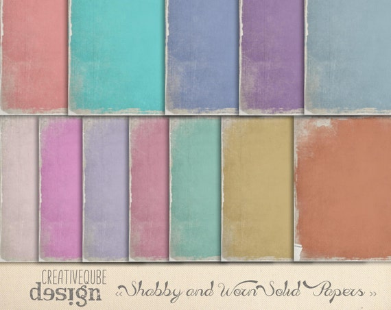 "Shabby and worn SOLIDS, Digital Paper Pack, 12"" x 12"" for Background, Scrapbooking, blogs, websites"