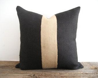Black Burlap Pillow Cover Jute Webbing