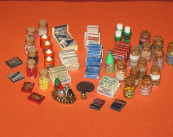 OOAK Dollhouse Miniature Handmade OLDE Time Pharmacy DRUG StoreEntire Shop Huge Set of 210 pieces