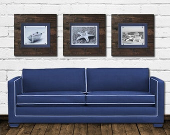 Set of 3 Xtra Large Dark Stained and Navy Blue Plank Frames for 8x10