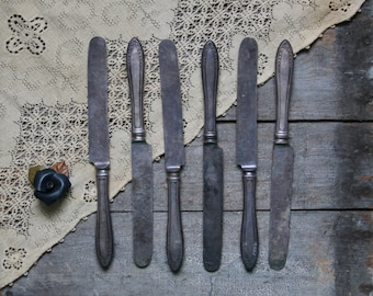 antique butter knives, antique flatware, rustic silverware; utensils