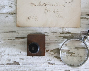 vintage wooden hand stamp rubber print block number 8