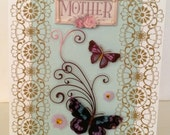 Mother Day card, Butterfly, Birthday cards, anniversary cards, All occasion card, Mother, embellished card, 3d card, handmade