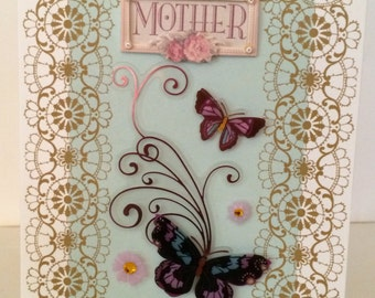 Mother cards, Butterfly, Birthday cards, anniversary cards, All occasion cards, Mother, embellished card, 3d cards