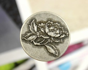 Metal Buttons - Rose Flower Metal Shank Buttons in Antique Silver Color - 0.91 inch - 6 pcs