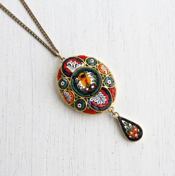 vintage micro mosaic necklace italian glass gold tone floral