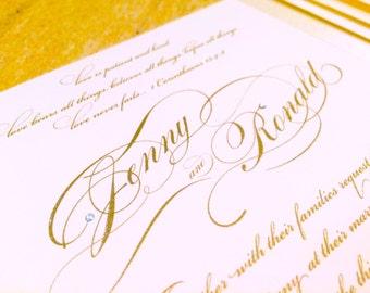 gold wedding invitation, classic wedding invitation, formal wedding invitation, black tie wedding invitation, glitter wedding invitation