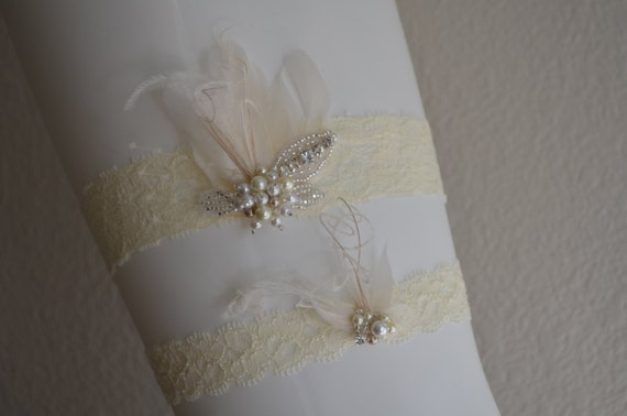 READY TO SHIP,Champagne and Ivory garter, Lace garter, Feather garter,rhinestone beaded,pearl, Style B052