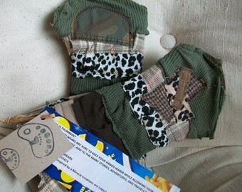 WHERE IS THUMBKIN... eco friendly patchwork layered finger and thumbless gloves by Claudia Fill customize