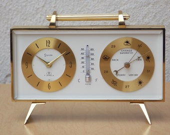 Swiza Brass Barometer Thermometer 8-Day Clock