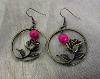 Antique Bronze Rose Flower Earrings
