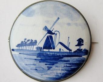 Vintage Fine Dutch 835 Sterling Silver Delft Blue Porcelain Windmill Brooch Pin