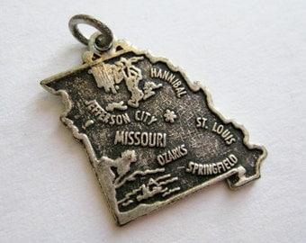 Vintage 50s Sterling Silver Missouri State Souvenir Map Bracelet Charm