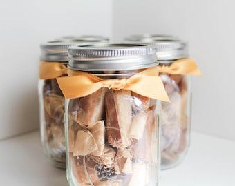Gifts for Wedding Party under 20 - Fleur de Sel Caramels - Set of (5) Half Pound Jars of Salted Caramels