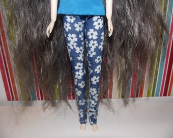 Blue with white flower tight jean skinny pants for pullip