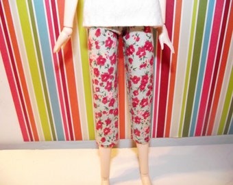 Light blue with pink flowers capri pants for obitsu