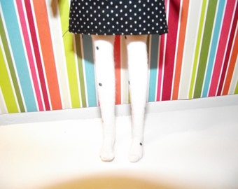 White with black polka dots tights leggins for DAL doll