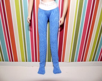 Blue chevron stockings tights leggins for Blythe