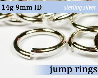 14g 9.0mm ID sterling jump rings -- silver 925 jumprings 14g9.00 links