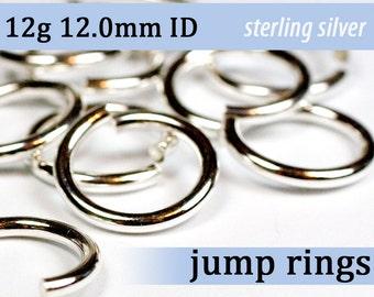 12g 12.0mm ID sterling silver jump rings -- 12g12.00 jumprings 925 links