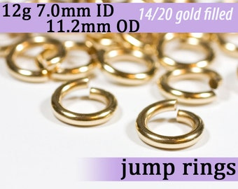 12g 7.0mm ID 11.2mm OD gold filled jump rings -- 12g7.00 goldfill jumprings 14k goldfilled jewelry supplies findings