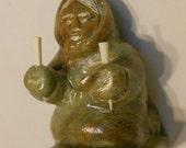 Vintage Carved Alaska Soapstone Figure of Eskimo--ARTIST signed circa 1960s-70s