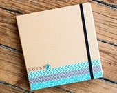 Bound Kraft Paper Lined Notebook with Various Sticky Notes, Pen, and Elastic Closure - Teal and Gray Embellisments