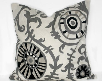 NEW  18 x 18 Pillow Covers Onyx Suzani Fabric Both Sides