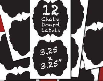 Laundry Room Organization Chalkboard Labels | 12 Curvy Frame Labels in Single Style | Kitchen Decor, Blackboard Label, Chalk Board Stickers
