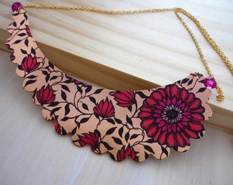 Red & black floral printed metal bib necklace. Layering necklace.