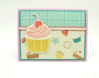 Cupcake Birthday Card for Her, Handmade Paper Greeting Card, Fancy Birthday Card, Birthday Cupcake Card, Birthday Card for Girls