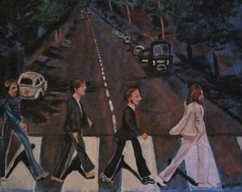 Hand painted Beatles Abbey Road XL T shirt