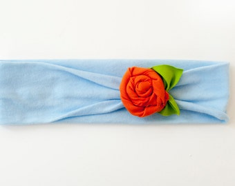 Baby Blue Orange Rosette Flower Jersey Knit Knotted Turban Headband/Headwrap Baby Toddler Child Adult